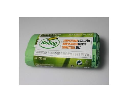 Мусорные пакеты BioBag компостируемые, 20л, 15 шт