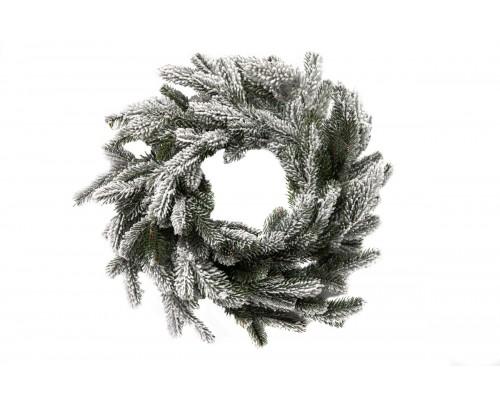 Рождественский венок заснеженный, диаметр 50 см.