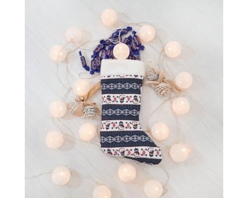 Новогодний сапог подарочный Снеговики,  37см