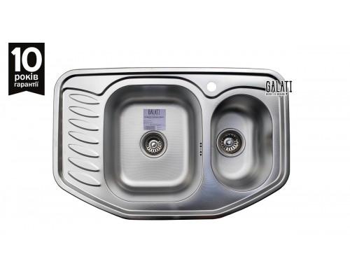 Угловая кухонная мойка Galaţi Rampă 1.5C Textură 78*51см. с дополнительной чашей и крылом